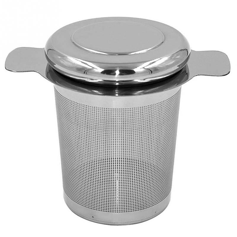 Herbruikbare Rvs Thee-ei Mand Fijne Mesh Theezeefje met 2 Handgrepen Deksel Thee en Koffie Filters v