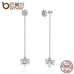 MyXL 925 sterling zilver reuzenrad en spider push-back lange oorbellen voor vrouwen party mode-sieraden sce019 <br />  Bamoer