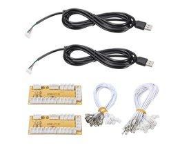 2 Stks/partij DIY Zero Delay Arcade USB Encoder PC Joystick Vervanging Onderdelen Usb-kabel Encoder Board + Push Knoppen draad Kabels <br />  ShirLin