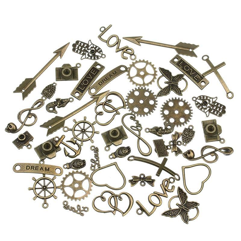 Gemengde 50 stks-partij Gesneden Diverse Bedels Hangers Kralen Metalen Legering Hanger Plated Antiek