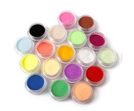 FreeNail Acryl Poeder Vloeistof 18 Kleuren Diy Kleurrijke Stof Set Voor 3d Art Mold Coloured carving poeder <br />  MyXL