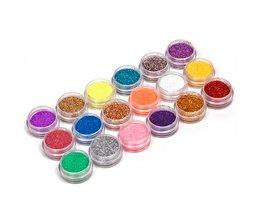 18 Kleuren/set Nail Art acryl Glitter Nail Art Tool Kit Acryl UV Powder Dust gem Nagellak Gereedschap, Nail Art Tip Decoratie <br />  YKS