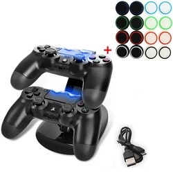 MyXL Draagbare LED Dual USB Charging Dock Station Stand + 16 stks Colorfull Thumbstick Caps voor PS4 PS4 Slanke PS4 Pro Controller <br />  GAOCHENG