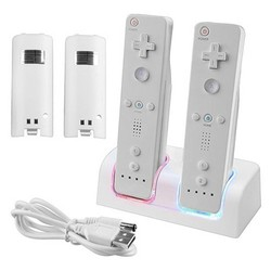 MyXL Top KwaliteitWitte Afstandsbediening Dual Opladen Dock Station 2X2800 mAh Batterij Met voor Wii Blauw LED Licht <br />  ShirLin