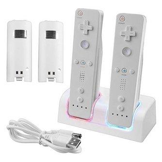 Top KwaliteitWitte Afstandsbediening Dual Opladen Dock Station 2X2800 mAh Batterij Met voor Wii Blauw LED Licht <br />  ShirLin