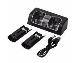 2x2800 mAh Oplaadbare Batterij met Dual Dock Charger Stand Station voor Wii Afstandsbediening Zwart Wit <br />  ONLENY