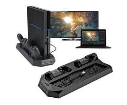 Koop Verticale Stand Koelventilator Voor PlayStation 4 Console Cooler Opladen Voor PS4 Koeler Met Dual Charger Poorten USB HUB <br />  VODOOL
