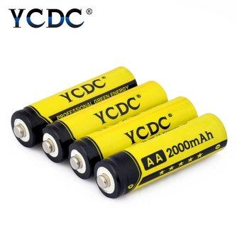 4 Stks AA Oplaadbare Batterij 2000 mAh Voor Lader 1.2 V Mh zaklamp Oplaadbare Batterijen Met batery Doos <br />  YCDC