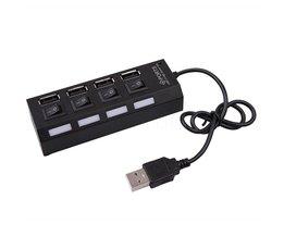 Voor Laptop Notebook Computer Mini 4 Poorten USB 2.0 Hub LED Hoge Snelheid Externe USB Hub Splitter Met Power on/off Schakelaar kabel <br />  kebidu