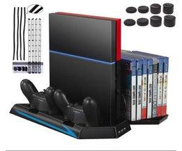 Verticale Stand voor PS4 Console-Koelventilator Controller Laadstation Cooler Game CD Opslag Dualshock Charger + Stofdicht Kit <br />  GAOCHENG