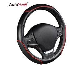 """Auto Stuurhoes Sportief Wave Patroon met Rode Lijn Stiksels M size Fits 38 cm/15 """"Diameter Auto Accessoires <br />  AUTOYOUTH"""