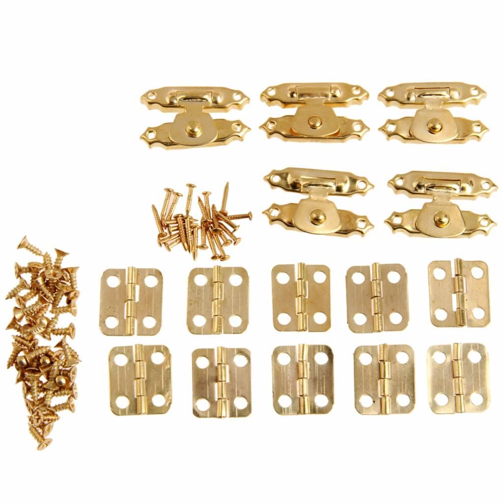 5 Stks Antieke Gouden Sieraden Houten Box Case Toggle Hasp Klink + 10 Stks Kabinet Scharnieren Ijzer