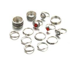 ALS ME Vintage Bohemian Midi Vinger Ringen voor Vrouwen maan Zon Etnische Rode Natuursteen Knuckle Ringen Sieraden14 stks/set