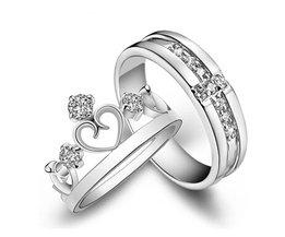 1 Paar = 2 stks Verzilverd Ring Sieraden Engagement Liefde Crown Cross Zirkoon Bruiloft Liefhebbers Paar Ringen voor Vrouwen mannen