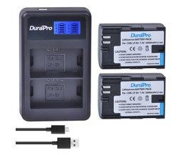 2 st LP-E6 LP-E6N LP E6 E6N Oplaadbare Li Batterij + LCD USB Dual Charger Voor Canon EOS 5D Mark II III 7D 60D 6D batterij