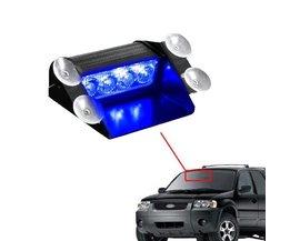 CYAAN BODEM BAY Blauw 4 LED Auto Emergency Waarschuwing Dashboard Dash Vizier Politie Strobe Lights 4LED Lamp