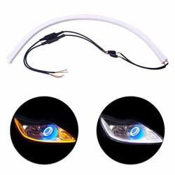 MyXL 2x60 cm Angel Eye Dagrijverlichting Universele Buis Gids Soft & flexibele Auto LED Strip DRL Wit & Geel Richtingaanwijzer