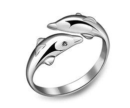 2017Koreaanse Mode Persoonlijkheid Dubbele Dolfijn 925 Opening Verstelbare Verzilverd Vrouwelijke Ring
