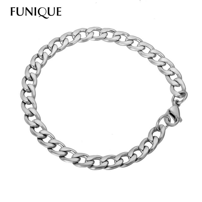 FUNIQUE Eenvoudige Rvs Ketting Armband Mannen Braclets & Armbanden 20 cm Mannelijke Vrouwelijke Hip