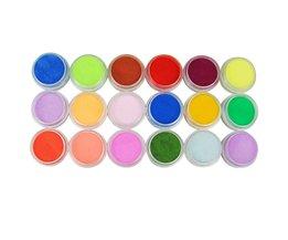 18 Stks Mix Kleuren Acryl Poeder Stof Decoratie Set voor Valse Tips Manicure Nail Art Acryl Poeder Voor Nail