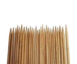 75 stks/set 15 Maten 20 cm Dubbele Wees Verkoolde Bamboe Breinaalden Trui Breien Bamboe Handvat Smooth Craft Naald
