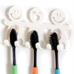 MyXL Leuke Badkamer Sets Cartoon Sucker Zuig Haken 5 Positie Tandenborstelhouder Milieuvriendelijke Grappige Lachend Gezicht Tandenborstel Stand