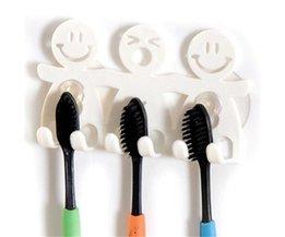 Leuke Badkamer Sets Cartoon Sucker Zuig Haken 5 Positie Tandenborstelhouder Milieuvriendelijke Grappige Lachend Gezicht Tandenborstel Stand