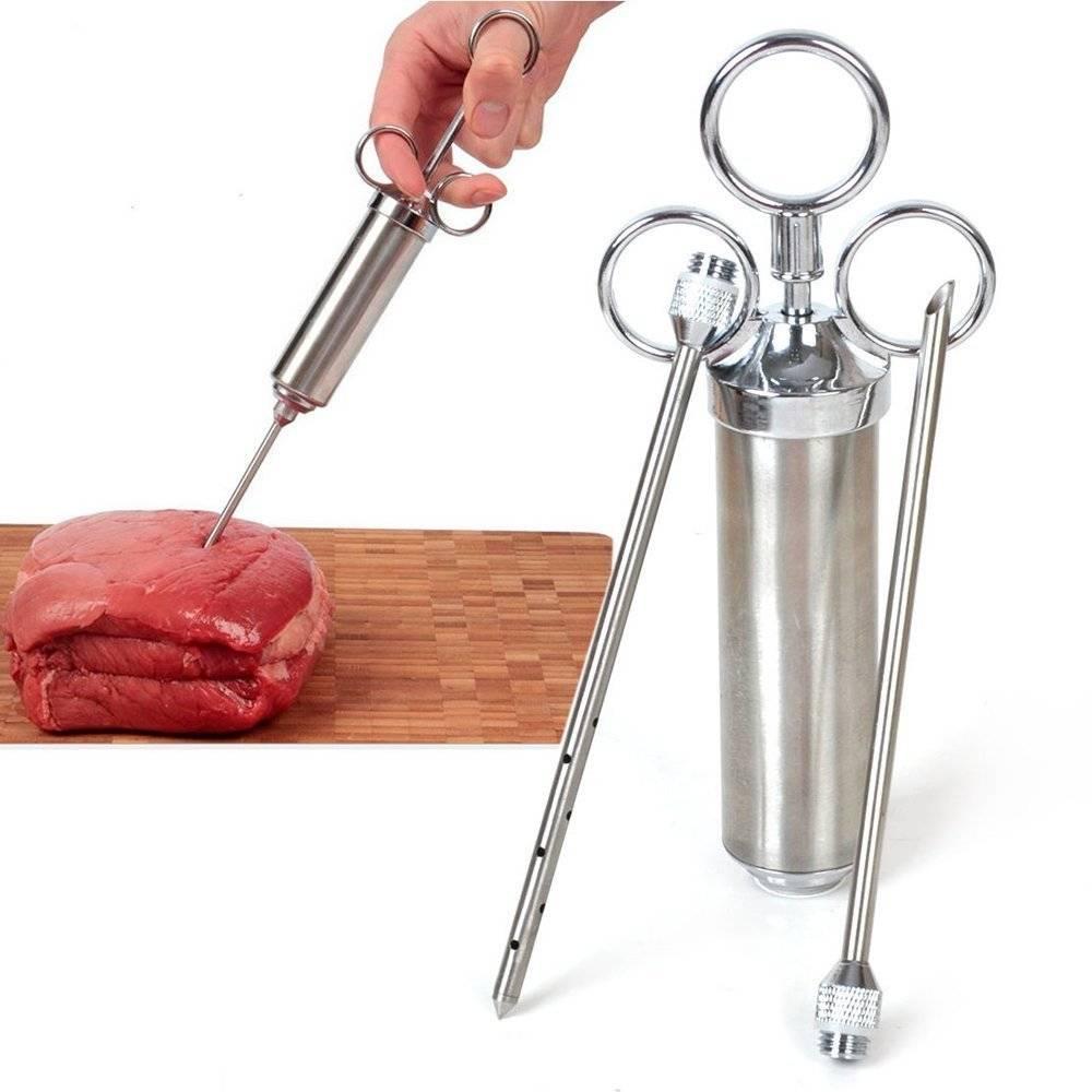 Voedsel Smaak Kruiden BBQ Vlees Spuit Marinade Injector Kit Duurzaam Sharp Injectie Pistool met 2 Na