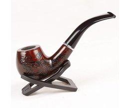 1 St Houten Pijp Met Mooie Carve Patronen Lengte 14.5 CM Met DoosTop Kwaliteit Roken Tabak Kruid Pijp
