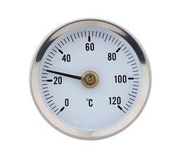 0-120C Bimetaal Rvs Oppervlak Pijp Thermometer Clip-op Temperatuurmeter met Lente