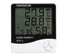 LCD Digitale Thermometer Hygrometer Indoor Elektronische Temperatuur-vochtigheidsmeter Klok Weerstation Huishoudelijke Thermometers