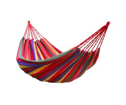 LHBL 190 cm x 80 cm Draagbare Outdoor Picknick Tuin Hangmat Hangen Bed Travel Camping Swing Streep Canvas Mat 120 kg
