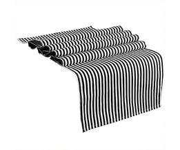 Ourwarm Zwart-wit Gestreepte Tafelloper voor Home Decor 35*182 cm Moderne Geometrische Tafel Topper Hotel Bed Runner Party Leverancier
