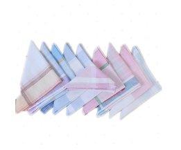 10 Stks Multicolor Vierkante Streep Dames Zakdoeken Katoen Vintage Pocket Zakdoek Plaid Zakdoek Dames Zakdoeken 29*29 cm