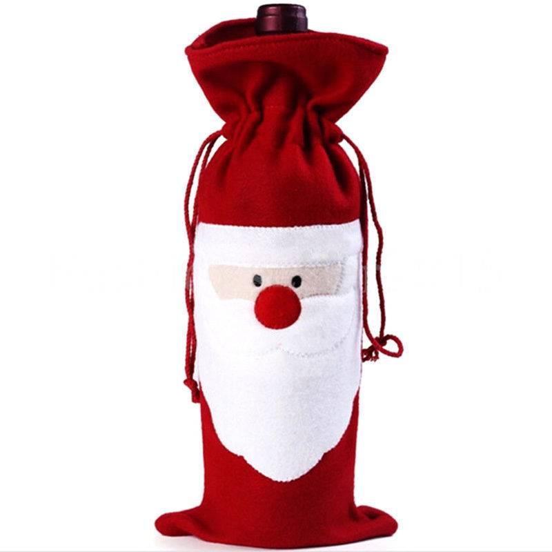 Rode Wijnfles Cover Tassen Kerstman Kerst Tafel Decoratie Thuis Party Decors Leverancier