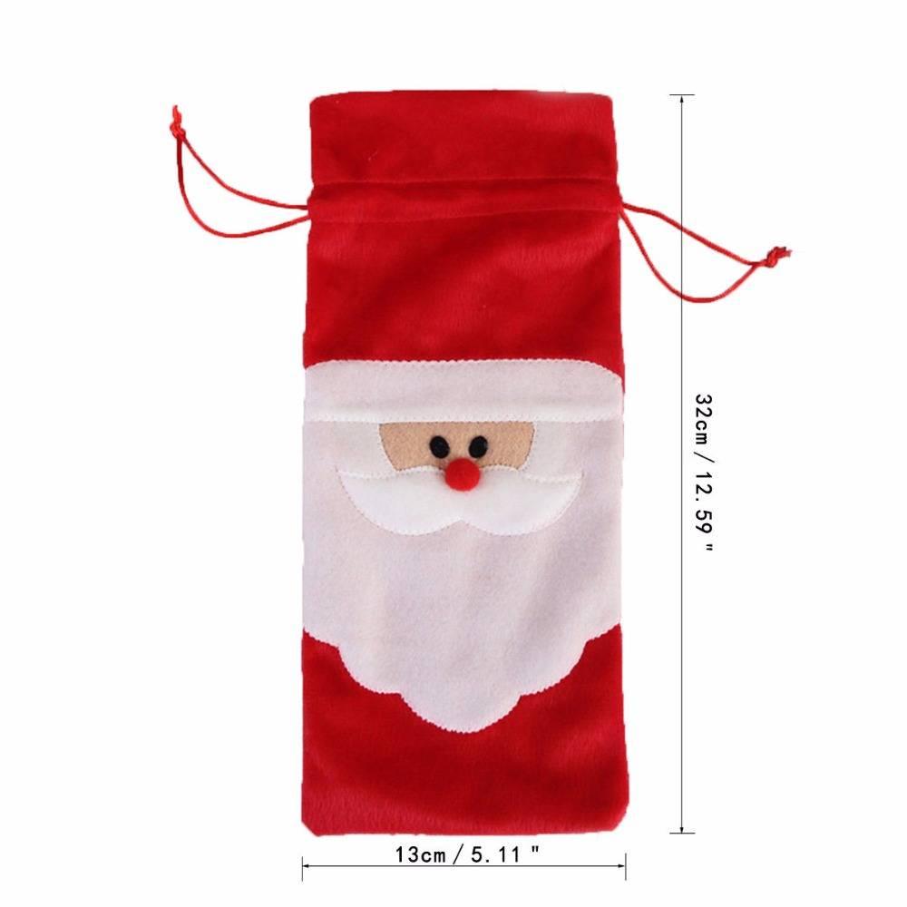 1 Stuk Rode Wijnfles Cover Tassen Kerst Tafel Decoratie Thuis Party Decors Kerstman