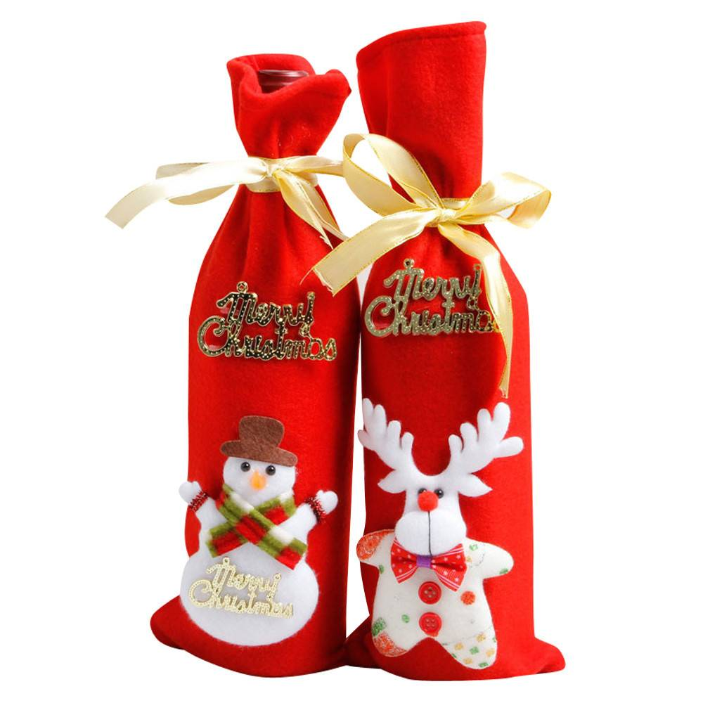 1 Stuk Rode Wijnfles Cover Tassen Kerst Tafel Decoratie Thuis Party Decors Kerstman Hoge Qulity