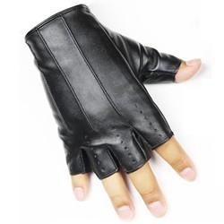 MyXL 1 Paar Mannen Vrouwen Korte Lederen Handschoenen Half Vinger Vingerloze Dance Stage Rijden