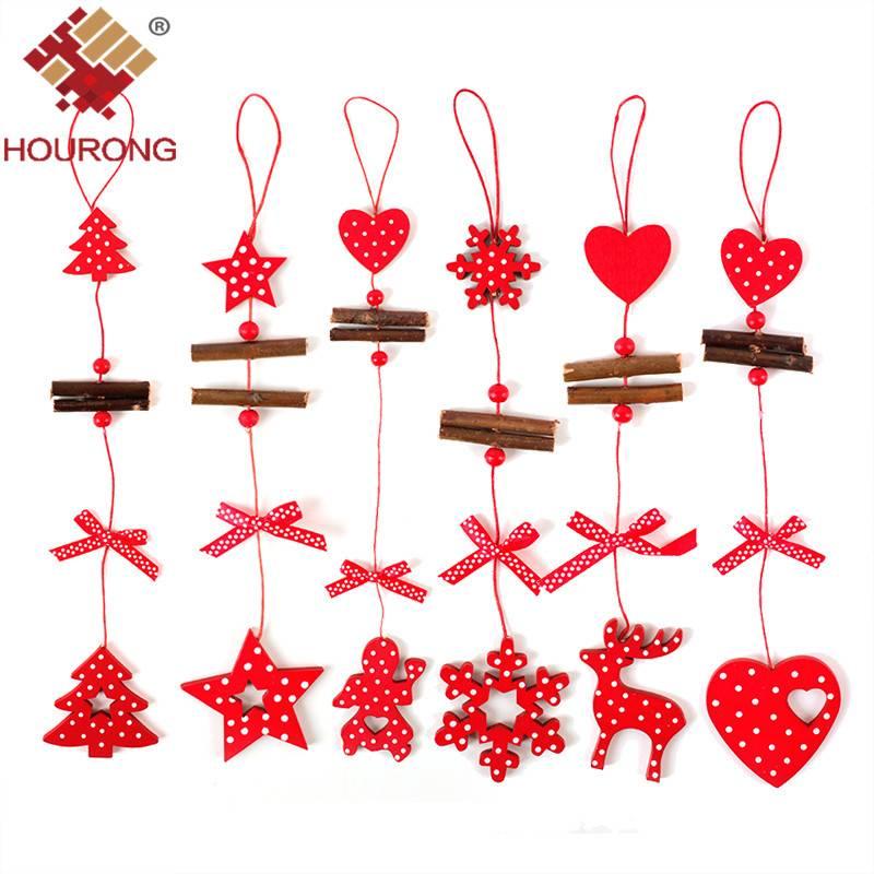 6 Stks-partij LangeString Houten Hanger Ornament Nieuwjaar Opknoping Decoratie String Carving Home K