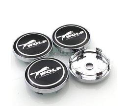 4 stks/set Zwarte Wolf Logo 60mm Auto Wiel Center Hub Caps Emblem Badge Voor Ford Auto Accessoires