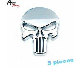 5 stks Schedel Skelet 3D body zilver metalen Motorfiets DE Punisher Badge Auto Emblem voor TT TTS R8 RS7 S4 S5 S6 S7 S8