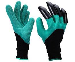 Rubber Graven Planten tuin handschoenen met 4 stks Plastic Klauwen voor Bouwers tuinman, Cut Slip waterdichte tuinieren wanten