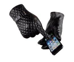 [Dexing] Zwart winter handschoenen mannen lederen Wanten Warm Houden Touchscreen Winddicht Rijden Handschoenen Mannelijke
