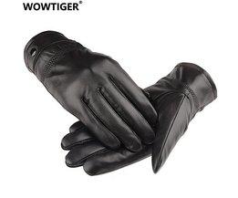 WOWTIGERLederen winter guantes warme schapenvacht Handschoenen mannen Lederen handschoenen eenvoudige voorkomen koude Handschoenen voor mannen