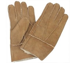 Cool mannen winter echt bruin schapenleer shearling bont warme handschoenen