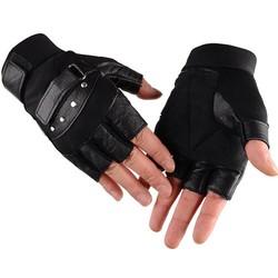 MyXL Kuyomens mannen vingerloze handschoenen pols vrouwen half vinger handschoen unisex volwassen vingerloze wanten echt lederen