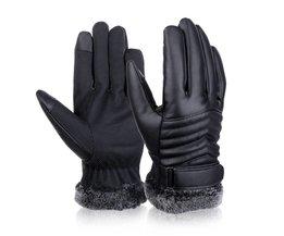 Vbiger Mannen Winter Warm Handschoenen Retro Verdikte PU Lederen Touchscreen Handschoenen Pluche Manchet Outdoors Anti-skid Handschoenen voor Mannen