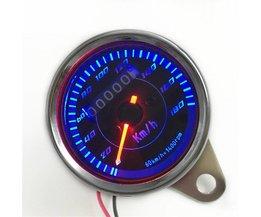 Universele Motorfiets Snelheidsmeter Speed Meter Blauw/Rode Kleur LED Licht Kilometerstand speed meter gauge instrument Miles Voor Motorfiets