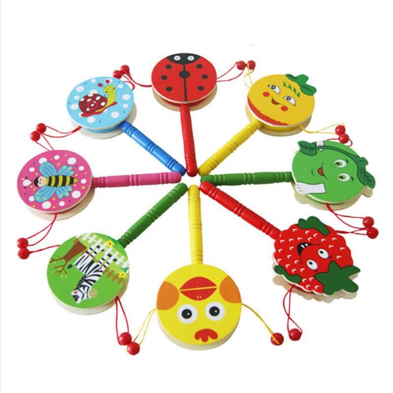Simingyou Houten Drums Percussie Infant Kids Muziekinstrumenten Speelgoed Voor Baby 1 Stks D10-Q-38 Drop(Willekeurige)