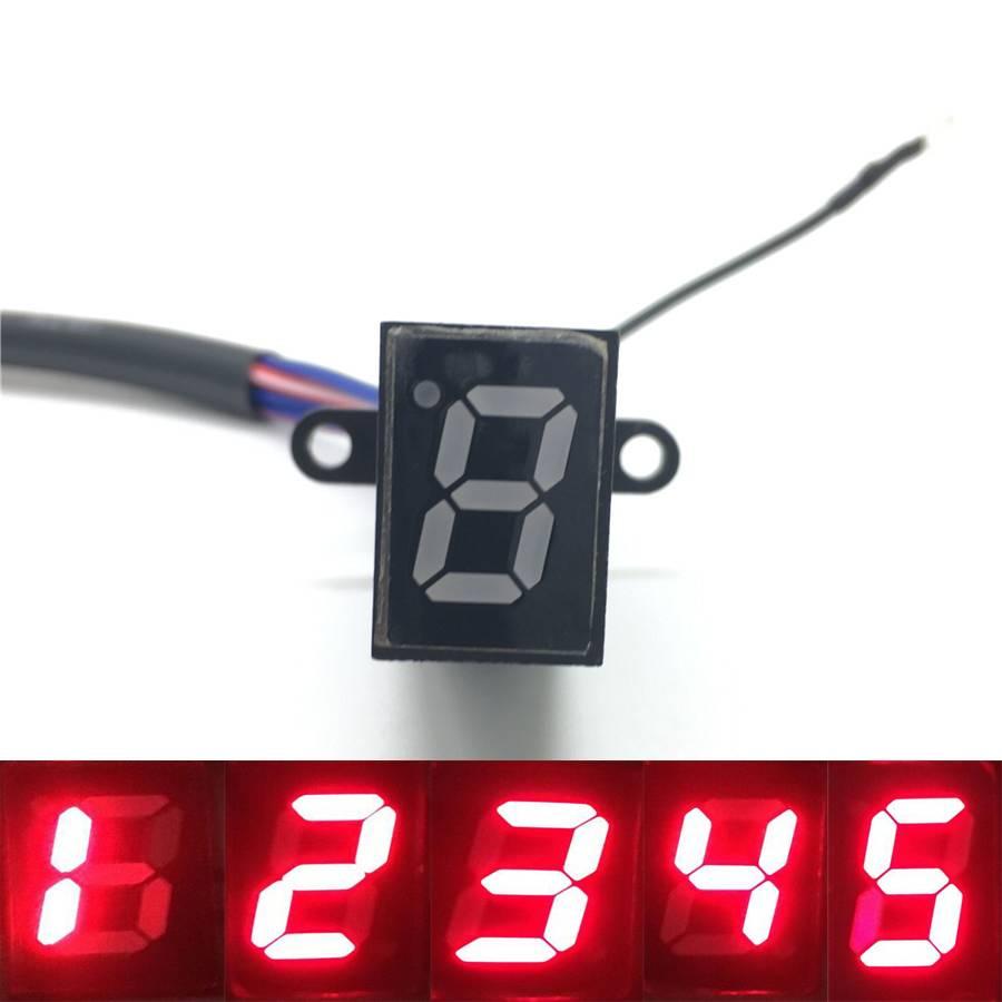 Yecnecty Universele Motorcycle Digital Gear Indicator Rode LED 1-5 Speed Motorbike Display Versnellingspook Sensoren Refit Onderdelen